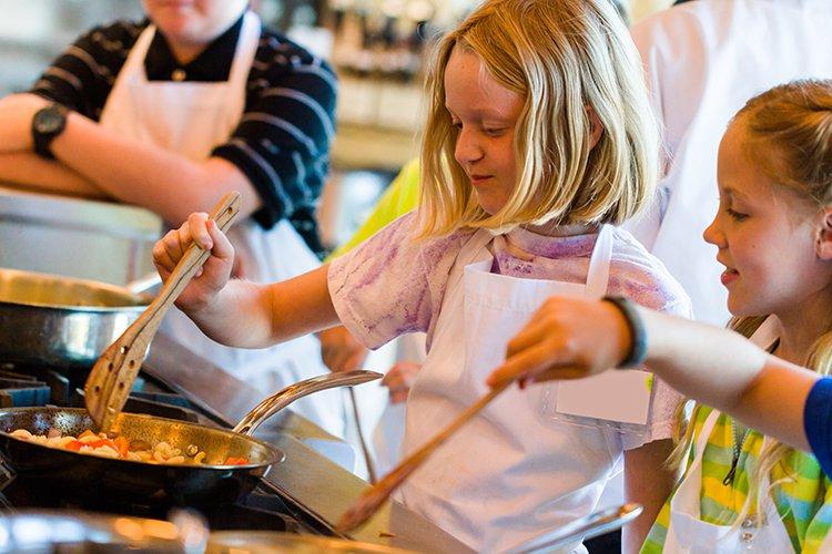 focus shot of kids in cooking class