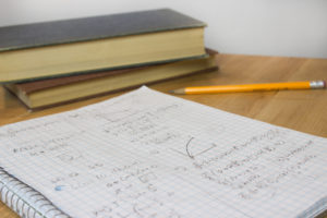 Math Homework with Pencil and Books
